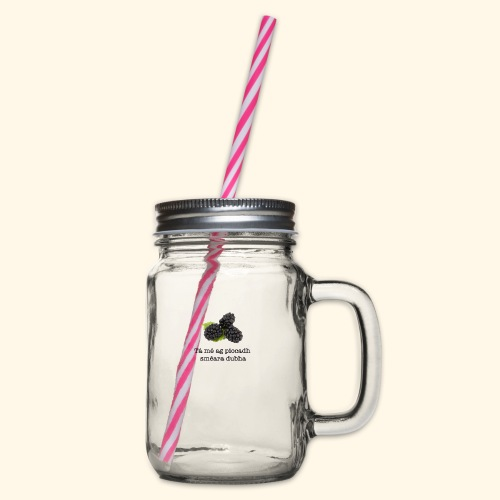 Picking blackberries - Glass jar with handle and screw cap