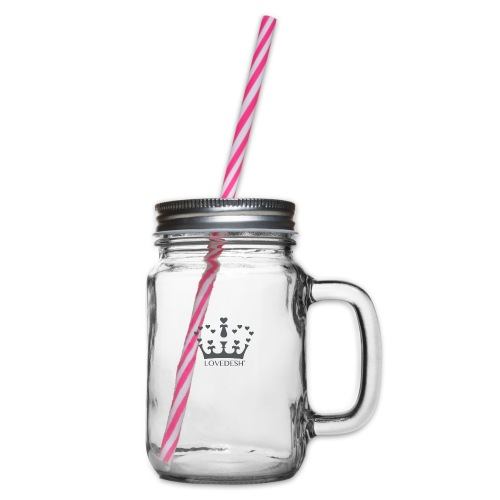 LD crown logo hearts png - Glass jar with handle and screw cap