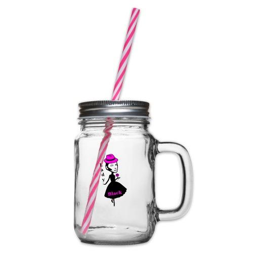 Lady Black Pink - Henkelglas mit Schraubdeckel