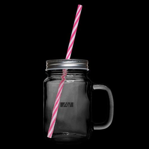 AV White - Glass jar with handle and screw cap