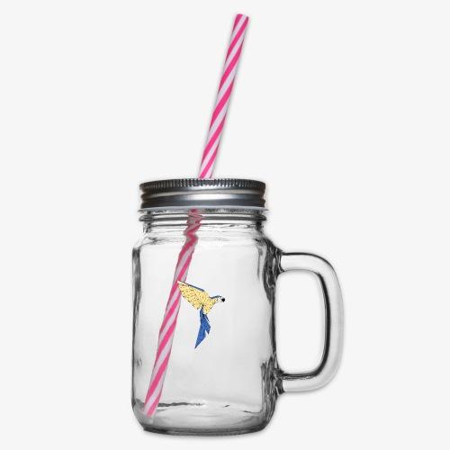 Papagei geometrisch - Henkelglas mit Schraubdeckel