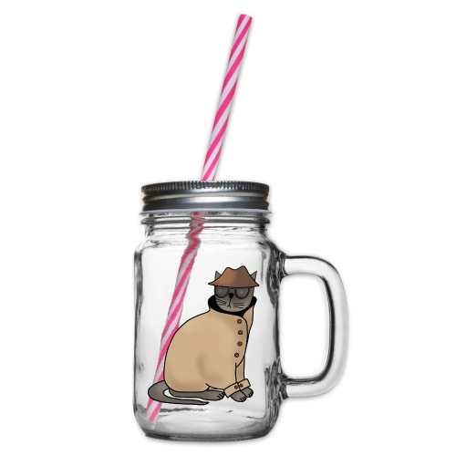Secret cat - Glass jar with handle and screw cap