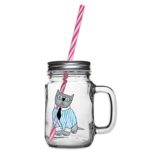 Cat with glasses - Glass jar with handle and screw cap