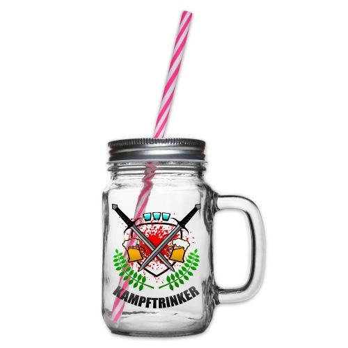 Kampftrinker Sauftour Team Bier Schnaps - Henkelglas mit Schraubdeckel