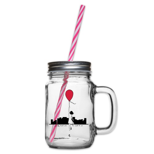 Gravity Mug - Glass jar with handle and screw cap