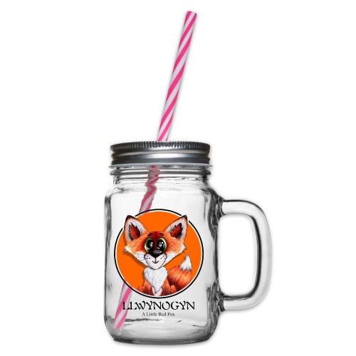 llwynogyn - a little red fox (black) - Henkelglas mit Schraubdeckel