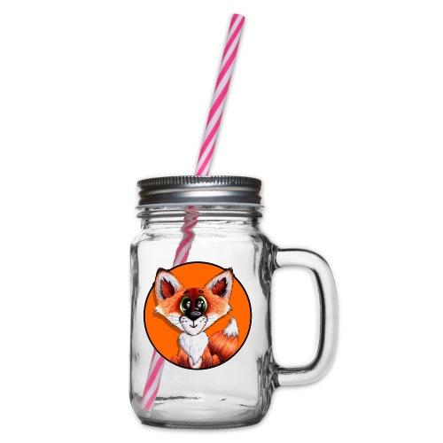 llwynogyn - a little red fox (white) - Henkelglas mit Schraubdeckel