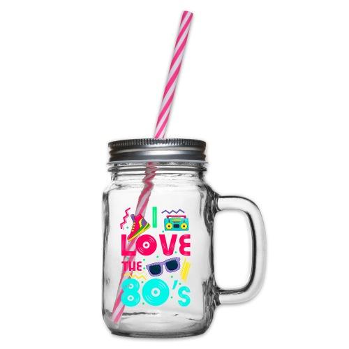 I love the 80s - cool and crazy - Henkelglas mit Schraubdeckel