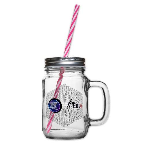 disen o dos canales cubo binario logos delante - Glass jar with handle and screw cap