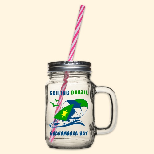Sailing Brazil - Glass jar with handle and screw cap