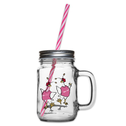 Hen Party (pink) - Glass jar with handle and screw cap