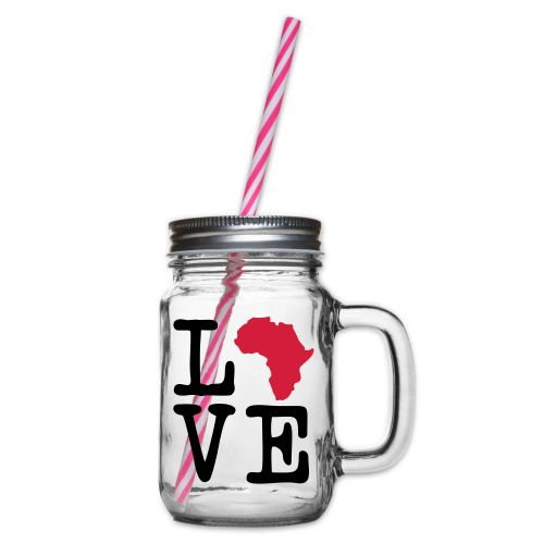 I Love Africa, I Heart Africa - Glass jar with handle and screw cap