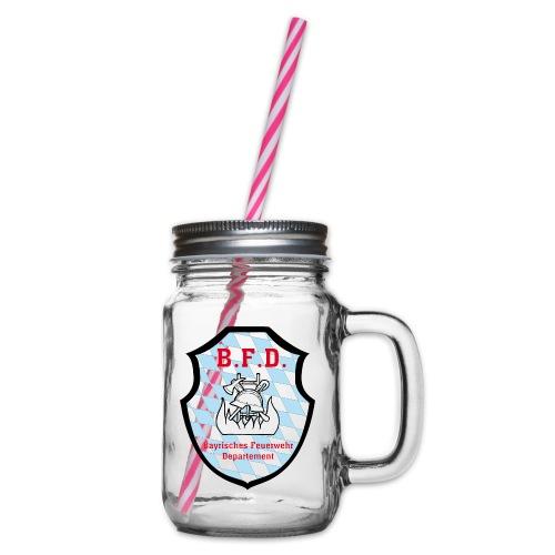 Inoffizielles bayrisches Feuerwehrabzeichen - Henkelglas mit Schraubdeckel