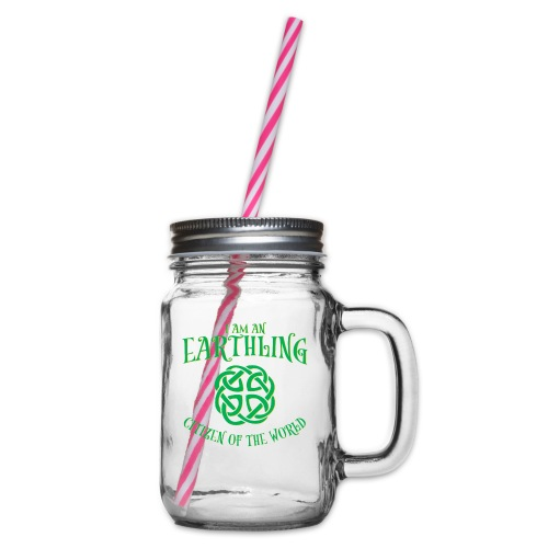 EARTHLING Green the earth - Glas med handtag och skruvlock