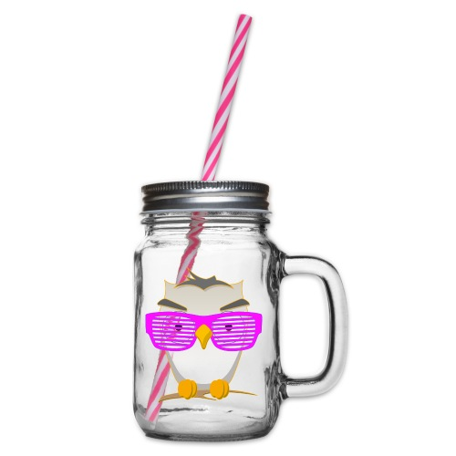 Eule Wald Vogel coole Nerdbrille Geek Big Bang Uhu - Glass jar with handle and screw cap