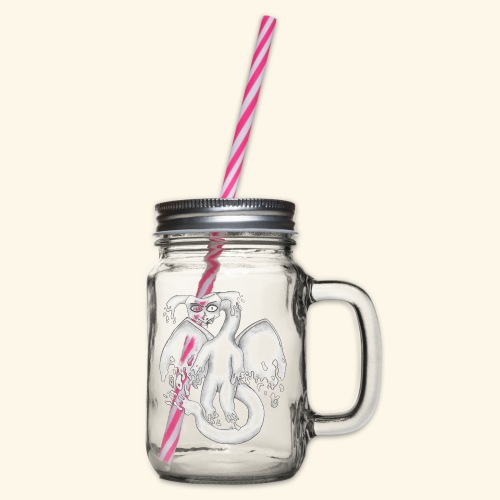 Spökdrake - Glas med handtag och skruvlock