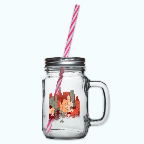 Puzzle fan - Glass jar with handle and screw cap