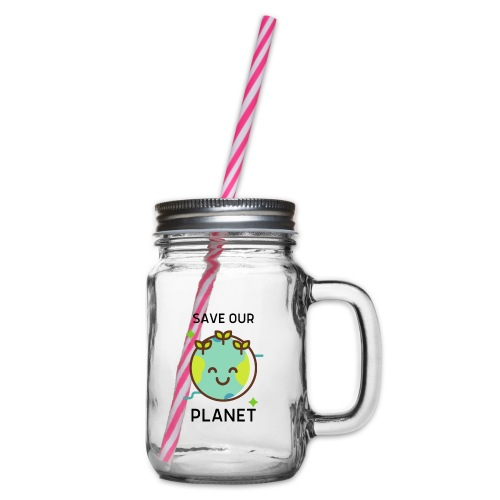 Save our planet LIGHT - Glass jar with handle and screw cap