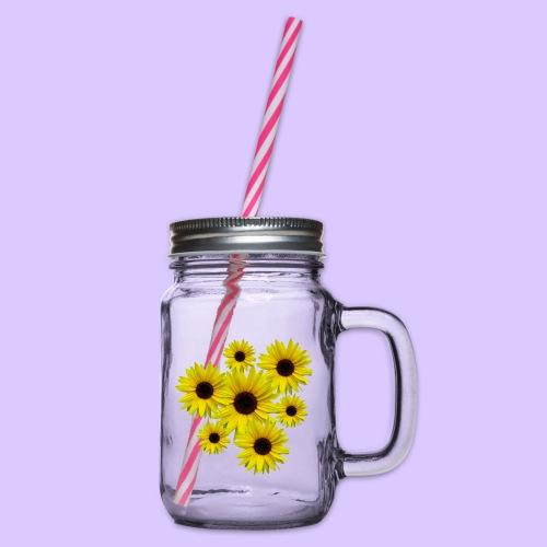 Sonnenblumenstrauß, Sonnenblumen, Blumen, Blüten - Henkelglas mit Schraubdeckel
