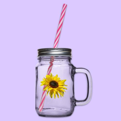blühende Sonnenblume, Sonnenblumen, Blumen, Blüten - Henkelglas mit Schraubdeckel