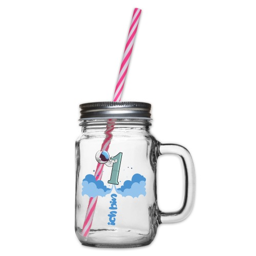 1 Geburstag - Henkelglas mit Schraubdeckel