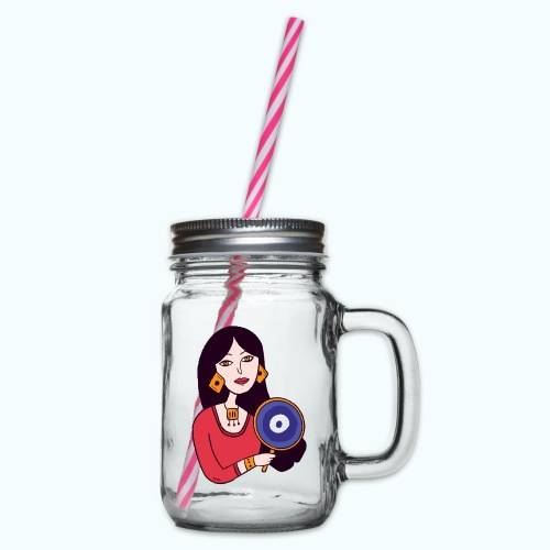 Fashion Girl - Glass jar with handle and screw cap