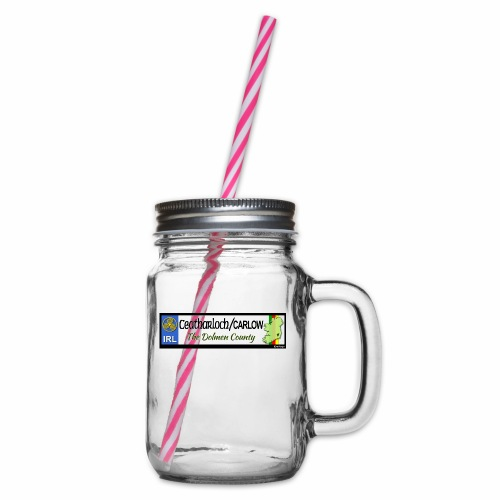 CARLOW, IRELAND: licence plate tag style decal - Glass jar with handle and screw cap