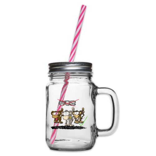 Protest-Äffchen 2 - Henkelglas mit Schraubdeckel