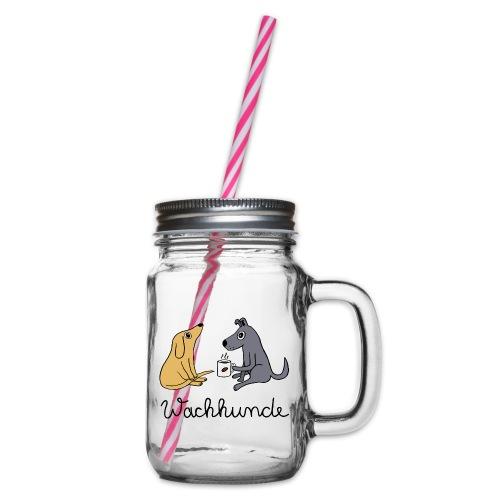 Wachhunde - Nur wach mit Kaffee - Henkelglas mit Schraubdeckel