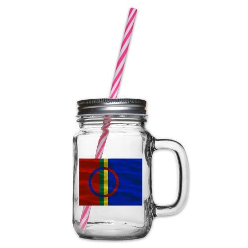 Sapmi flag - Glass med hank og skrulokk
