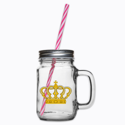 Golden crown - Glass jar with handle and screw cap