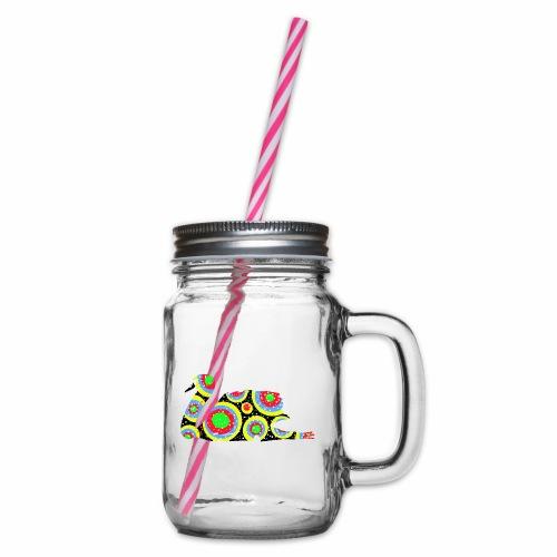 Bunter Schwan mit vielen tollen Farben - Henkelglas mit Schraubdeckel