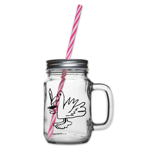 Battle Bird Productions Logo - Glass jar with handle and screw cap