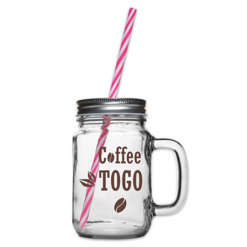 Coffee To Go Togo Kaffee lustig Sprüche - Henkelglas mit Schraubdeckel