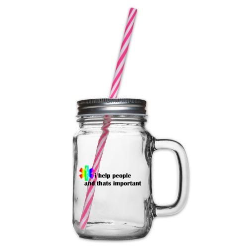 i help people - Drinkbeker met handvat en schroefdeksel