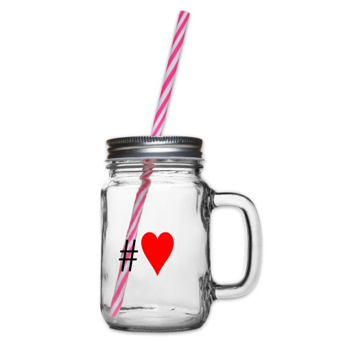 Hashtag Heart - Glass jar with handle and screw cap