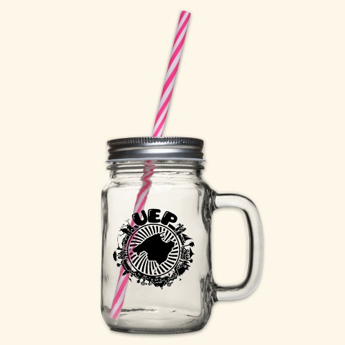UEP white background - Glass jar with handle and screw cap