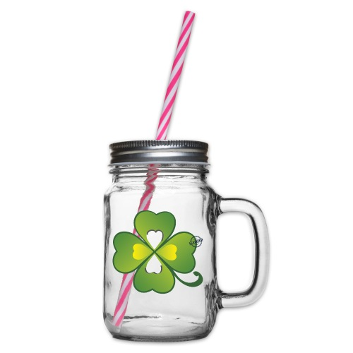 Clover - Symbols of Happiness - Glass jar with handle and screw cap