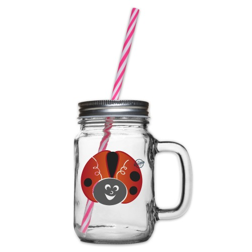 Ladybug - Symbols of Happiness - Glass jar with handle and screw cap