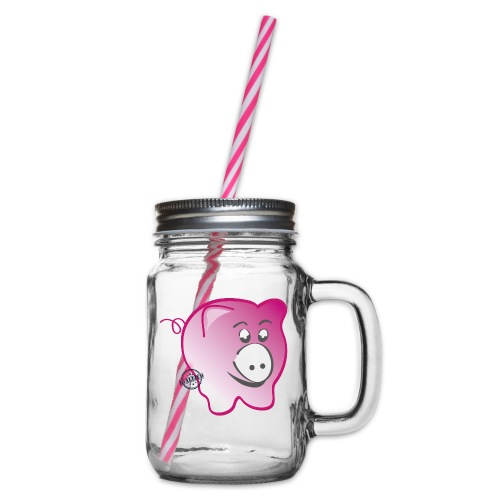 Pig - Symbols of Happiness - Glass jar with handle and screw cap