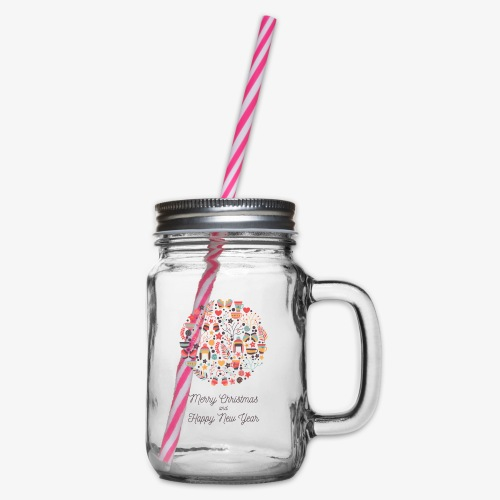 Merry Christmas and Happy New Year - Glass jar with handle and screw cap