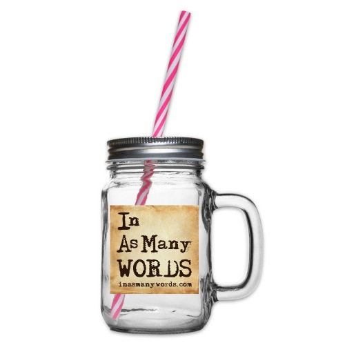 I AM Words LOGO_Brown - Glass jar with handle and screw cap