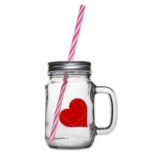 miłość - Słoik do picia z pokrywką