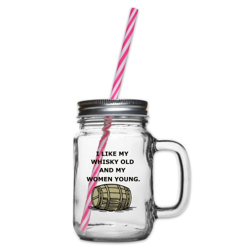 Whiskey / whiskey saying gift idea - Glass jar with handle and screw cap