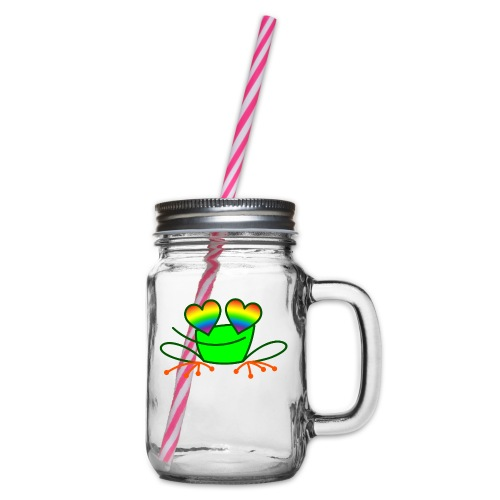 Pride Frog in Love - Glass jar with handle and screw cap