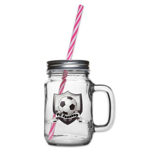 FC Sonntag Logo - Henkelglas mit Schraubdeckel