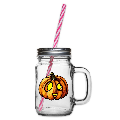 Pumpkin Halloween watercolor scribblesirii - Glass jar with handle and screw cap