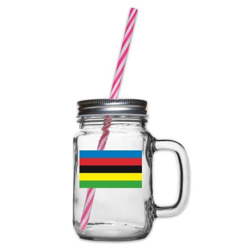 Cycling_World_Champion_Rainbow_Stripes-png - Drinkbeker met handvat en schroefdeksel