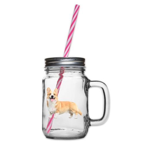 Topi the Corgi - Sideview - Glass jar with handle and screw cap