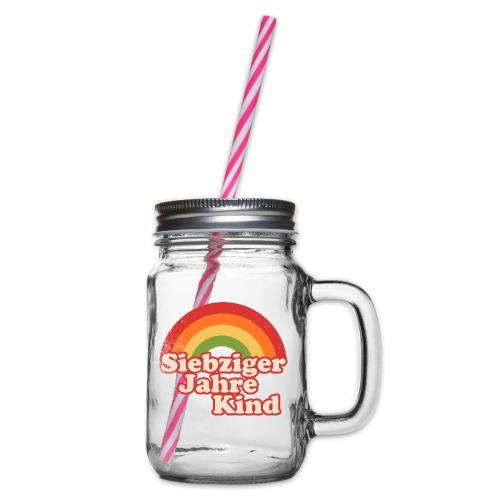 70er Kind Regenbogen - Henkelglas mit Schraubdeckel